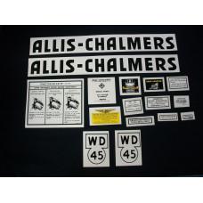 Allis Chalmers WD45 black Mylar Cut Decal Set