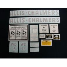 Allis Chalmers WD45 diesel Vinyl Cut Decal Set