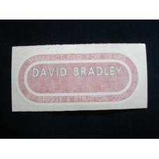 David Bradley Tractor Bradley (red/wht) Vinyl Cut Decal (VDB1290)
