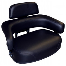 John Deere 690 Black Vinyl Seat with Brackets and Assembled