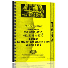Caterpillar 631C Tractor Scraper Service Manual (SN# 11G & Up, 28F & Up, 67M & Up, 98F & Up)