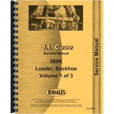 Case 580K Tractor Loader Backhoe Service Manual (SN# 0-JJG0019999) (Includes 3 Volumes)