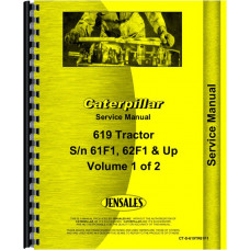 Caterpillar 619 Tractor Scraper Service Manual (SN# 61F1 and Up, 62F1 and Up)