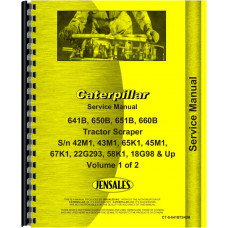 Caterpillar 651B Tractor Scraper Service Manual (SN# 45M1 and Up, 67K1 and Up)