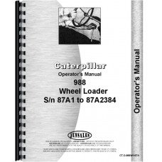 Caterpillar 988 Wheel Loader Operators Manual (SN# 87A)