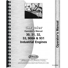 Chrysler 30 Engine Operators Manual