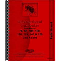 International Harvester Cub Cadet 86 Lawn & Garden Tractor Parts Manual