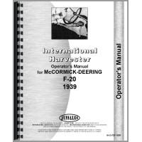 Farmall F20 Tractor Operators Manual (1939 Only) (Rare)