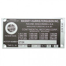 Ferguson Blank Engine Serial Number Tag With 4 Rivets (MFS170)