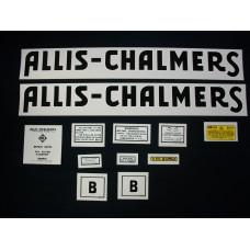Allis Chalmers B black long A & S Mylar Cut Decal Set
