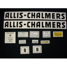 Allis Chalmers B black even letters Mylar Cut Decal Set