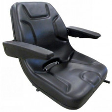 Aftermarket (Not OEM) Bobcat 843 Black Vinyl Bucket Seat with Arms
