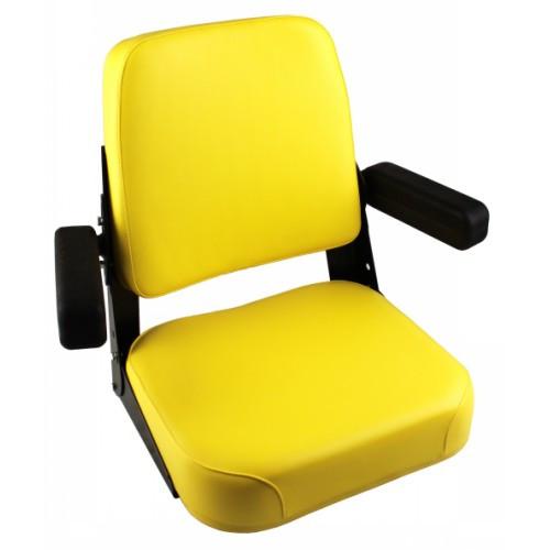 John Deere Yellow Vinyl Seat With Black Vinyl Arm Rests