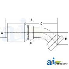 Image of HW Series Male, Rigid, 45 Elbow Code 62 (HW-C62) Code 62 Flange Head - 45° Elbow