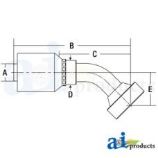 Image of HW Series Male, Rigid, 45 Elbow Caterpillar (HW-CAT) Caterpillar® Flange Head - 45° Elbow