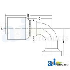 Image of HW Series Male, Rigid, 90 Elbow Caterpillar (HW-CAT) Caterpillar® Flange Head - 90° Elbow