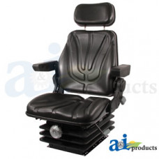 Ford | New Holland T7070 Tractor Seat, F10 Series, Mechanical Suspension / Armrest / Headrest / Black Vinyl