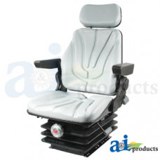 Ford | New Holland T7070 Tractor Seat, F10 Series, Mechanical Suspension / Armrest / Headrest / Gray Vinyl