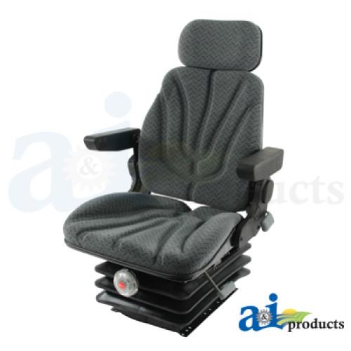 John Deere 7420 Tractor Seat, F10 Series, Mechanical Suspension / Arm Rest  / Head Rest / Gray Cloth