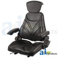 Ford | New Holland LS150 Skid Steer Loader Seat, F20 Series, Slide Track / Armrest / Headrest / Black Vinyl