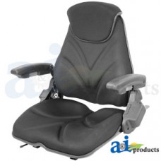 Ford | New Holland LS150 Skid Steer Loader Seat, F20 Series, Slide Track / Arm Rest / Head Rest / Black Cloth