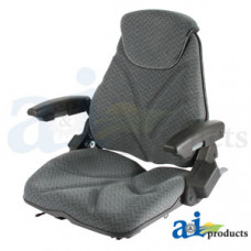 Ford | New Holland LS150 Skid Steer Loader Seat, F20 Series, Slide Track / Arm Rest / Head Rest / Gray Cloth