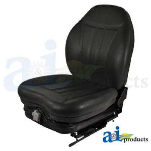 Caterpillar 287B Skid Steer Loader High Back Industrial Seat With Suspension Slide Track Black Vinyl