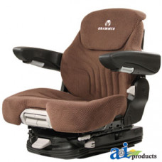 Ford | New Holland T7070 Tractor Grammer Seat Assembly, Brown MATRIX CLOTH, Black Vinyl Armrests