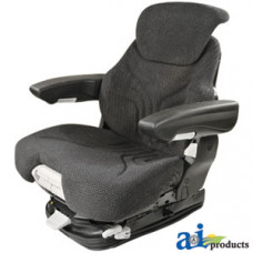 Ford | New Holland T7070 Tractor Grammer Seat Assembly, Charcoal MATRIX CLOTH, Black Vinyl Armrests
