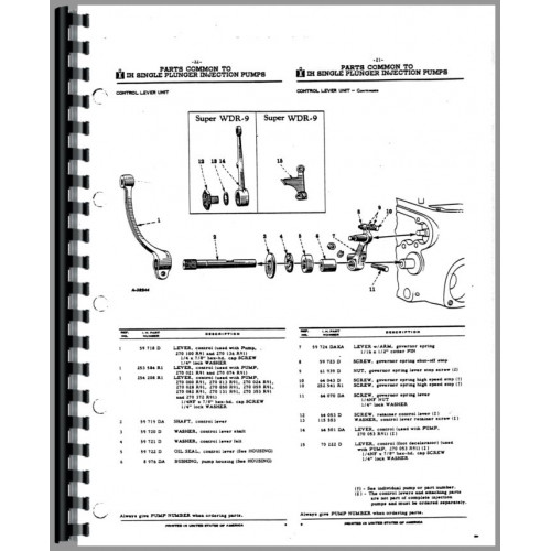 international harvester ud264 power unit fuel injection pump parts manual