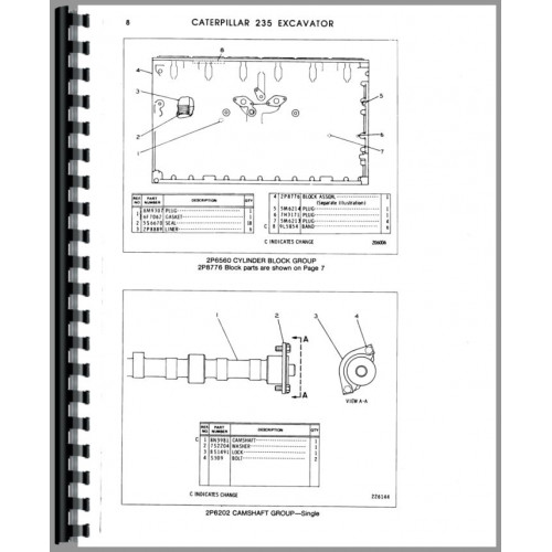 Caterpillar 235 Excavator Parts Manual (SN# 32K789-32K1300)