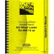 Caterpillar 922 Wheel Loader Operators Manual (SN# 59A1 and Up)