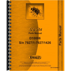 Image of Deutz (Allis) D10006 Tractor Parts Manual (SN# 7927/1 to 7927/1426)