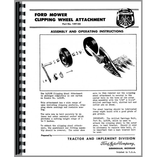 Ford 501 sickle Bar mower manual