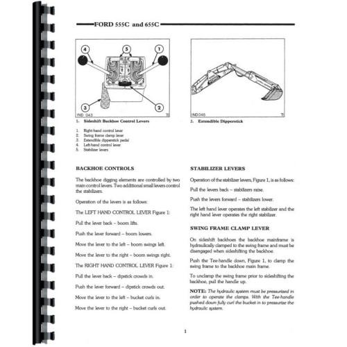 Ford 655C Tractor Loader Backhoe Operators Manual