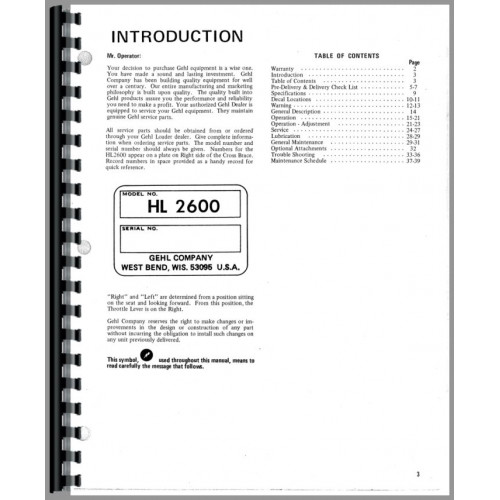 Gehl HL2600 Skid Steer Loader Operators Manual on