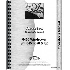 Hesston 6450 Windrower Operators Manual (SN# 645T-650 and up)