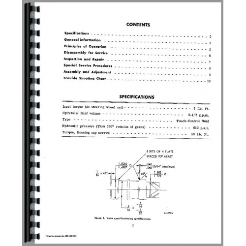 International Harvester 350 Tractor Behlen Power Steering Service Manual