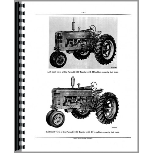 Farmall 400 Tractor Parts Manual  Lp Only