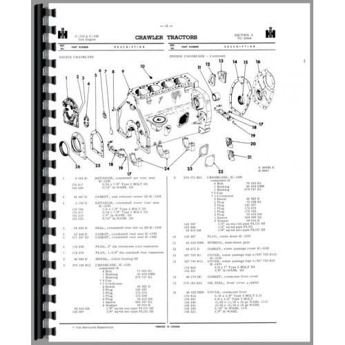 International Harvester Part Numbers : International harvester crawler parts manual
