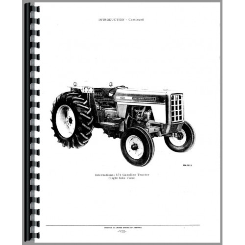 international harvester 674 tractor parts manual chassis rh jensales com IH 674 Tractor Front Grill Used For 764 IH Tractor