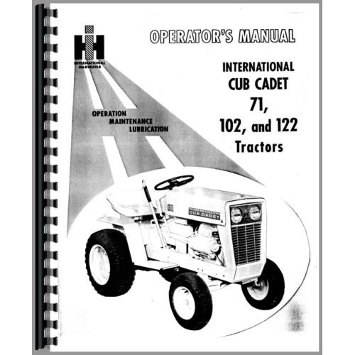 International Harvester Cub Cadet 102 Lawn & Garden Tractor Operators Manual