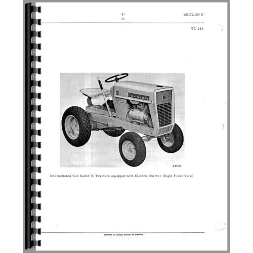International Harvester Cub Cadet 102 Lawn & Garden Tractor Parts Manual
