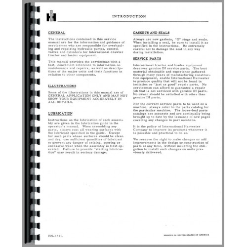 International Harvester TD6 Hydraulic Pump, Valves, Cylinders Service  Manual (Series)