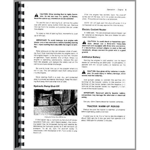 John Deere 2030 Tractor Operators Manual Sn 0 187300