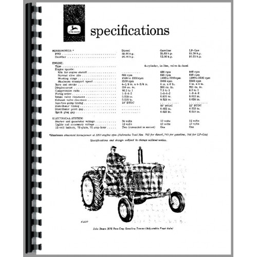 john deere 3010 tractor operators manual
