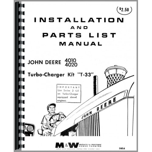 John Deere 4020 Tractor Turbo Kit Operators  U0026 Parts Manual
