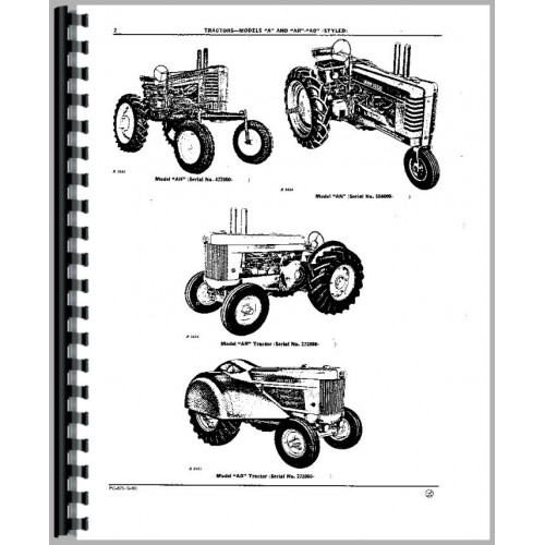 John Deere A 1934-1952 AO 1937-1940 AR 1949-1953 Tractor Parts Manual JD-P-PC675