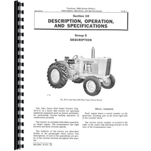 JOHN DEERE 3010 Gas /& Diesel Tractor Service Manual