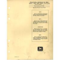 John Deere BWH Tractor Parts Manual (NOS)